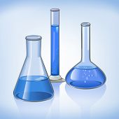 foto of flask  - Science laboratory flasks glassware template on blue still life symbol vector illustration - JPG