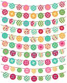 Vector Collection of Button Bunting in Bright Patterns