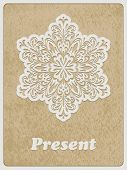 picture of std  - Vector Card white paper cut flower on rough paper texture Cooper STD standart ai font - JPG