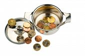 a cooking pot with a few euro coins photo icon on debt and financial crisis