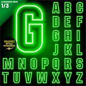Vector illustration of abstract neon tube alphabet for light board. Condensed Green