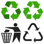 picture of reuse recycle  - Environment recycling symbols isolated on white background - JPG