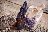 Lavender essential oil with lavendula flowers in the jar, dry leaves of this herb near the bottle.