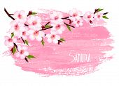 Spring background of a blossoming tree branch with spring flowers. Vector.