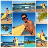 Collage With Surfer On Tropical Beach