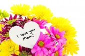 stock photo of i love you mom  - I love you Mom card amongst a bouquet of colorful flowers - JPG