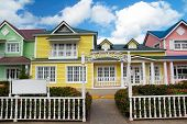 Wooden Houses Painted In Caribbean  Colors In Samana Resort