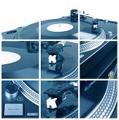 Turntable With Dj Needle Collage