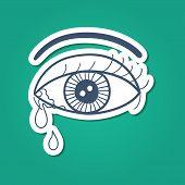 Crying eye with tears.