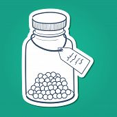 Bottle with pills.