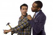 foto of blue-collar-worker  - Blue collar worker vs white collar professional - JPG