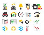 Energo efficient  smart house icons set
