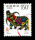 Year of the Ox in postage stamp