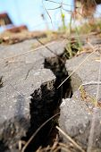 Cracked Asphalt After Earthquake