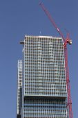 Rotterdam, The Netherlands - June 15th, 2013: Construction against blue sky
