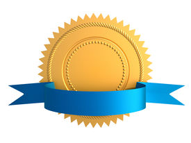 foto of gold medal  - Golden guarantee seal with blue bow isolated on white - JPG