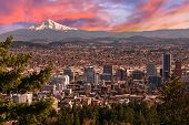 stock photo of sunrise  - Sunrise View of Portland Oregon from Pittock Mansion - JPG