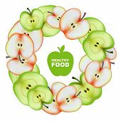 Healthy Food. Slice of Apple. Round Frame. Vector