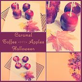 Retro Vintage Style Caramel Toffee Apples For Autumn Fall Halloween Party Trick Or Treat With Sample