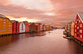 Cityscape Of Trondheim Norway At Sunset