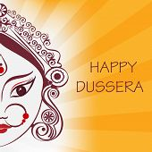 picture of subho bijoya  - Durga hindu goddess illustration in line art - JPG