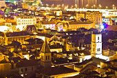 Historic Town Of Sibenik Aerial Night View