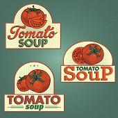 Tomato soup labels set