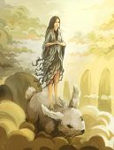 digital painting asian goddess