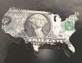 Dollar Bill on USA Map