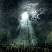 Mystical Moonlight Flowing From The Dark Sky To The Ground