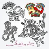 ornate doodle fantasy monster personage