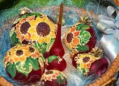 Colorful sunflower painted Christmas balls set
