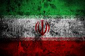 stock photo of tehran  - grunge flag of Iran with capital in Tehran - JPG