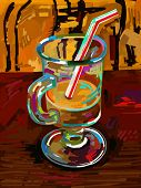 original digital painting of glass of coffee