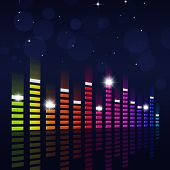 Multicolor Music Equalizer On Blue Background