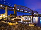 Tamar Bridges At Night Saltash Cornwall