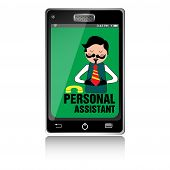 stock photo of personal assistant  - Isolated smartphone with a male person on the screen and the text personal assistant written with black letters - JPG