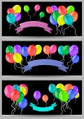 Banners With Balloons And Ribbons