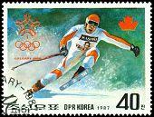 Vintage  Postage Stamp. Olympic Games In Calgary. 7.
