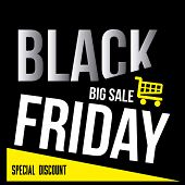 stock photo of friday  - a black background with white text and a yellow cart for black friday - JPG