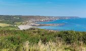 The Lizard peninsula coast Cornwall towards Kennack Sands and Compass Cove South West England UK