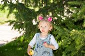 Adorable Little Child Girl With Flower. Summer Green Nature .  Use It For Baby, Parenting Or Love Co