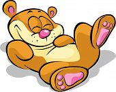 Happy Bear Lying On His Back And Resting - Illustration On White Background