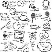 Doodle Sport Equipment. Vector Illustration. Sketchy Illustration Hand Drawn, Vector Object Isolated