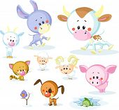 Vector Farm Animals - Cow, Pig, Goat, Ram, Sheep, Cat And Dog Isolated On White Background