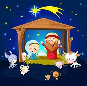 Nativity In Bethlehem With Animals - Christmas Vector Illustration
