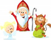 stock photo of punish  - Saint Nicholas devil and angel - vector illustration isolated on white background.