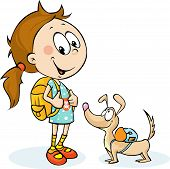 School Girl And Dog With Schoolbag - Vector Illustration