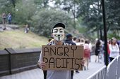 Angry pacifist in Guy Fawkes mask
