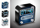 Vector Illustration Icons Button Alarm Clock